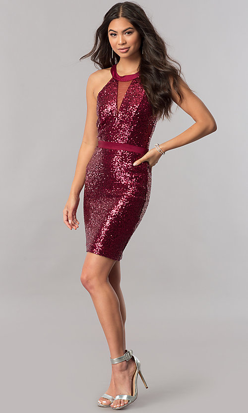 Image of illusion short homecoming party dress with sequins. Style: MCR-2422 Detail Image 1