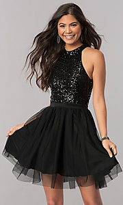 Image of short a-line homecoming dress with sequin bodice. Style: MCR-2421 Detail Image 2