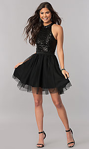 Image of short a-line homecoming dress with sequin bodice. Style: MCR-2421 Detail Image 3