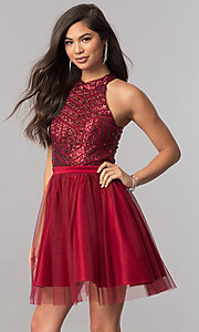 Image of short a-line homecoming dress with sequin bodice. Style: MCR-2421 Front Image