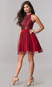 Image of short a-line homecoming dress with sequin bodice. Style: MCR-2421 Detail Image 1