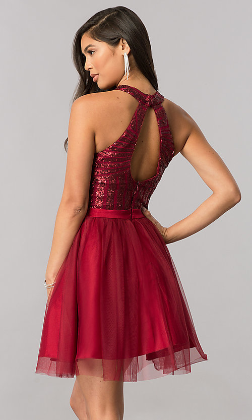 Image of short a-line homecoming dress with sequin bodice. Style: MCR-2421 Back Image