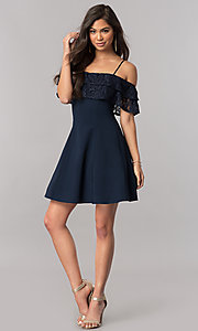 Image of lace-ruffle off-the-shoulder short homecoming dress. Style: MCR-2420 Detail Image 3