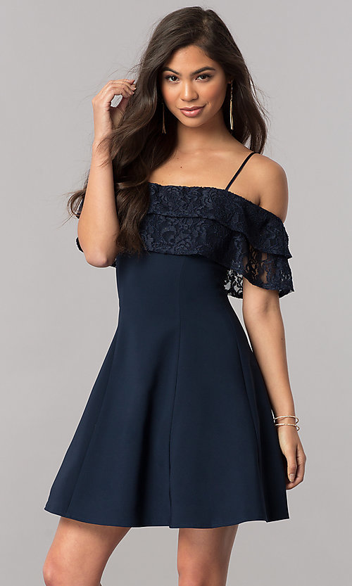 Image of lace-ruffle off-the-shoulder short homecoming dress. Style: MCR-2420 Front Image