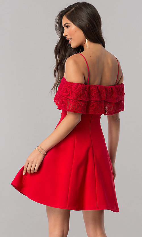 Image of lace-ruffle off-the-shoulder short homecoming dress. Style: MCR-2420 Back Image