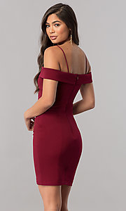 Image of off-the-shoulder bodycon short homecoming dress. Style: MCR-2132 Detail Image 3