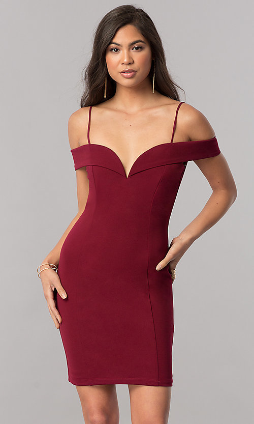 Image of off-the-shoulder bodycon short homecoming dress. Style: MCR-2132 Front Image