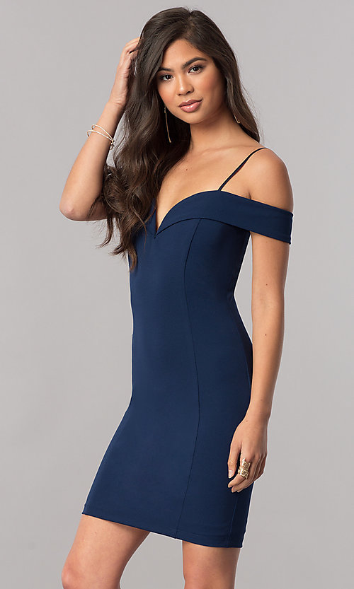 2232c1a58f55 Image of off-the-shoulder bodycon short homecoming dress. Style: MCR-