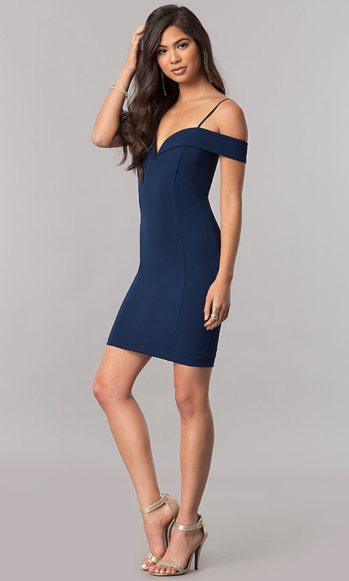 Image of off-the-shoulder bodycon short homecoming dress. Style: MCR-2132 Detail Image 1