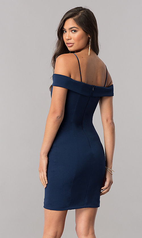 Image of off-the-shoulder bodycon short homecoming dress. Style: MCR-2132 Back Image