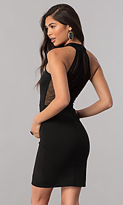 Image of racerback short homecoming party dress with high neck. Style: MCR-1452 Back Image