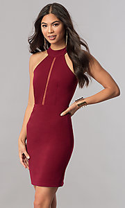 Image of racerback short homecoming party dress with high neck. Style: MCR-1452 Detail Image 2