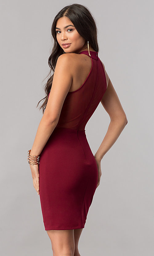 Image of racerback short homecoming party dress with high neck. Style: MCR-1452 Detail Image 3