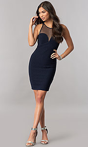 Image of empire-waist short navy blue homecoming party dress. Style: MCR-2258S Detail Image 1