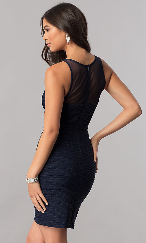 Image of empire-waist short navy blue homecoming party dress. Style: MCR-2258S Back Image