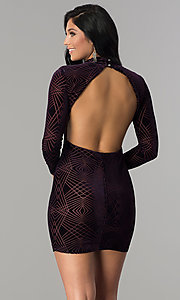 Image of long-sleeve short velvet-print cocktail party dress. Style: EM-FNA-3347-534 Back Image