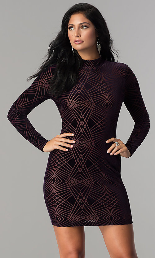 Image of long-sleeve short velvet-print cocktail party dress. Style: EM-FNA-3347-534 Front Image