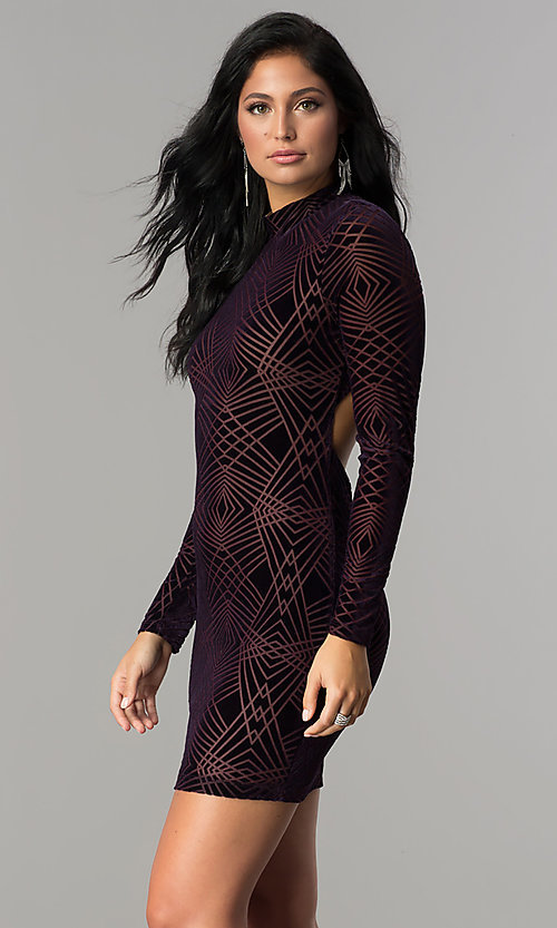 Image of long-sleeve short velvet-print cocktail party dress. Style: EM-FNA-3347-534 Detail Image 1