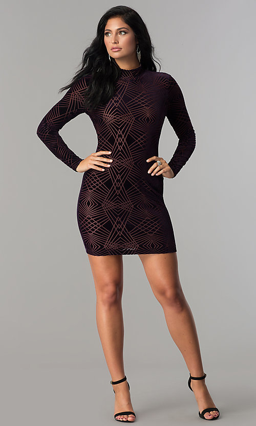 Image of long-sleeve short velvet-print cocktail party dress. Style: EM-FNA-3347-534 Detail Image 3