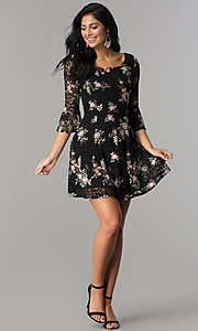 Image of short embroidered black lace party dress with sleeves.  Style: EM-FNI-3322-013 Detail Image 3