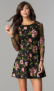 Image of long-sleeve short embroidered black homecoming dress. Style: EM-FNO-3376-022 Front Image