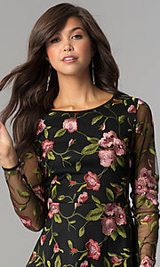 Image of long-sleeve short embroidered black homecoming dress. Style: EM-FNO-3376-022 Detail Image 1