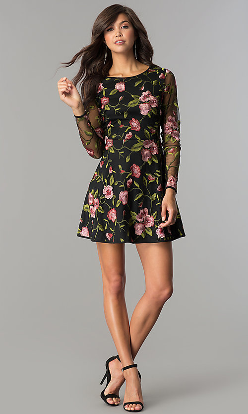 Image of long-sleeve short embroidered black homecoming dress. Style: EM-FNO-3376-022 Detail Image 2