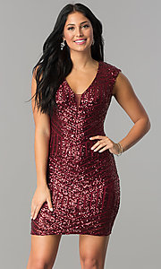 Image of burgundy red short sequin v-neck homecoming dress. Style: FLA-74097 Front Image