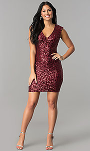 Image of burgundy red short sequin v-neck homecoming dress. Style: FLA-74097 Detail Image 1