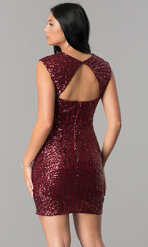 Image of burgundy red short sequin v-neck homecoming dress. Style: FLA-74097 Back Image