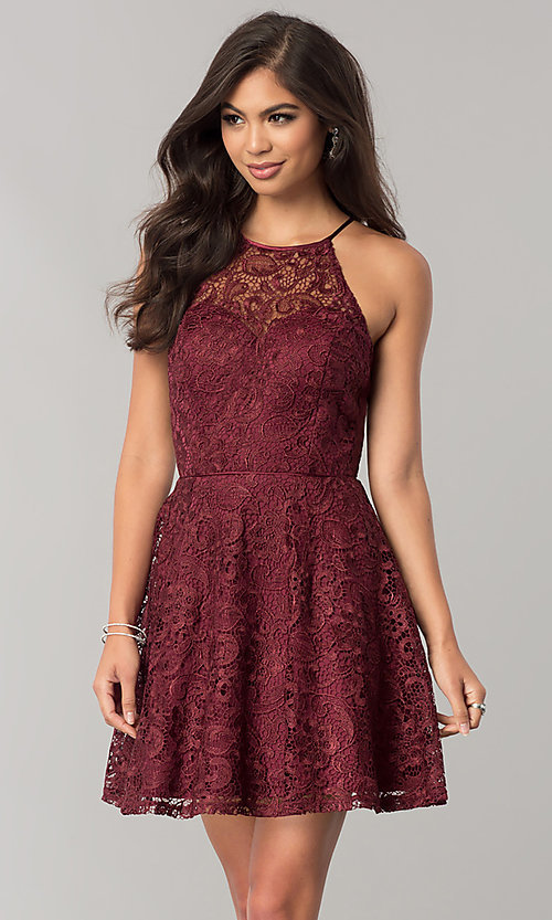 8fd694fc0b9 Image of lace wine red short homecoming dress with keyhole. Style  FLA-50141