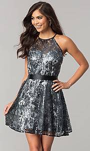 Image of short black sequin a-line holiday party dress. Style: FLA-42088 Front Image
