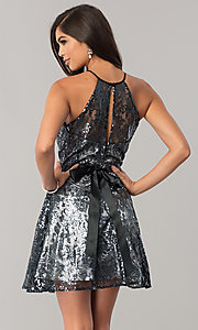 Image of short black sequin a-line holiday party dress. Style: FLA-42088 Back Image