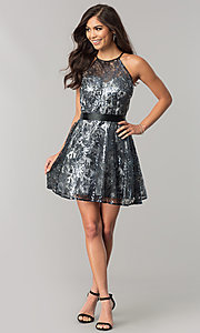 Image of short black sequin a-line holiday party dress. Style: FLA-42088 Detail Image 1