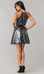 Image of short black sequin a-line holiday party dress. Style: FLA-42088 Detail Image 2