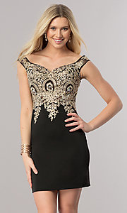 Image of short off-the-shoulder homecoming dress with lace. Style: DQ-2001 Detail Image 1