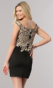 Image of short off-the-shoulder homecoming dress with lace. Style: DQ-2001 Back Image
