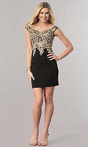 Image of short off-the-shoulder homecoming dress with lace. Style: DQ-2001 Detail Image 2