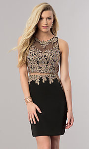 Image of short homecoming dress with illusion-lace bodice.  Style: DQ-2000 Front Image