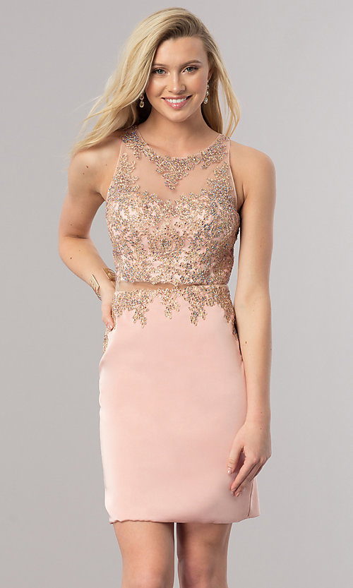 Image of short homecoming dress with illusion-lace bodice.  Style: DQ-2000 Detail Image 1