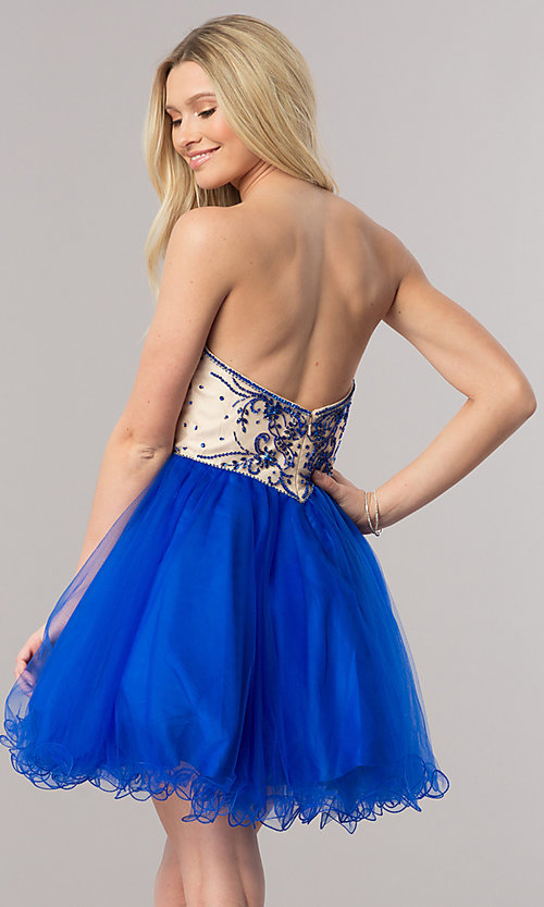 Image of strapless short babydoll-style party dress. Style: DQ-2005 Back Image