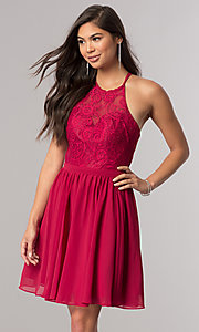 Image of short chiffon homecoming party dress with lace. Style: DQ-2010 Front Image