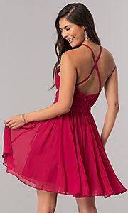 Image of short chiffon homecoming party dress with lace. Style: DQ-2010 Back Image