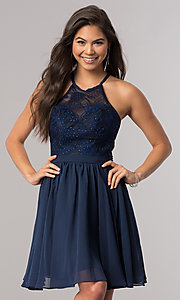 Image of short chiffon homecoming party dress with lace. Style: DQ-2010 Detail Image 1