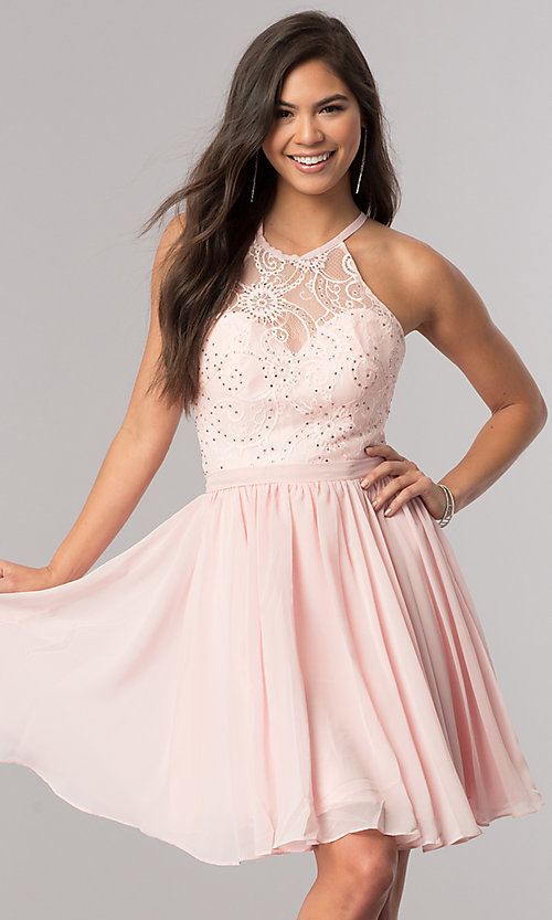 Image of short chiffon homecoming party dress with lace. Style: DQ-2010 Detail Image 2