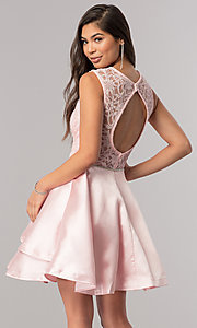 Image of beaded-waist short homecoming dress with lace bodice. Style: DQ-2011 Back Image