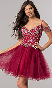 Image of cold-shoulder short beaded homecoming party dress. Style: DQ-2023 Front Image