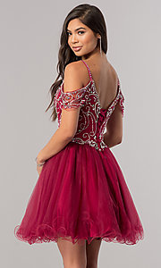 Image of cold-shoulder short beaded homecoming party dress. Style: DQ-2023 Back Image