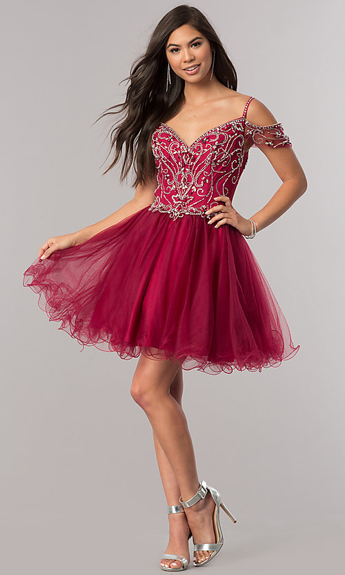 Image of cold-shoulder short beaded homecoming party dress. Style: DQ-2023 Detail Image 1