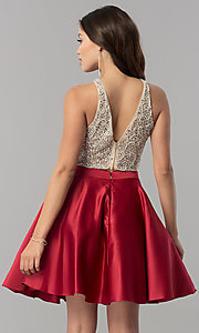 Image of short two-piece v-back homecoming dress with pockets.  Style: DQ-2027 Detail Image 3